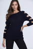 Navy Knitted Cut Out Arm Jumper One Size