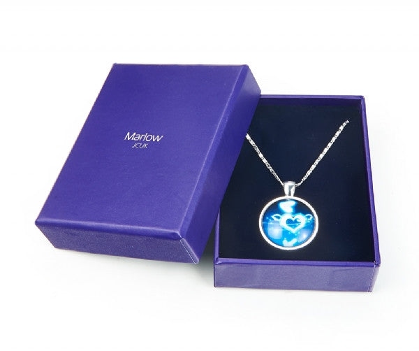 Blue Heart Print Pendant Necklace
