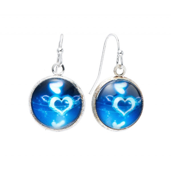 Blue Heart Print Earrings