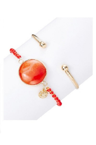 Red and Gold Bangle and Bracelet Set