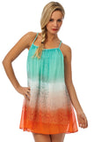 Dip Dye Snake Print Chiffon Swing Dress