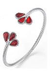 Red Petal Silver Twist Bangle