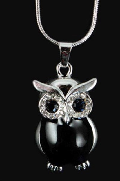 Black and Silver Coloured Crystal Owl Pendant