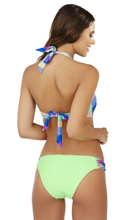 Multi Coloured Ombre Macrame Bandeau Bikini Set