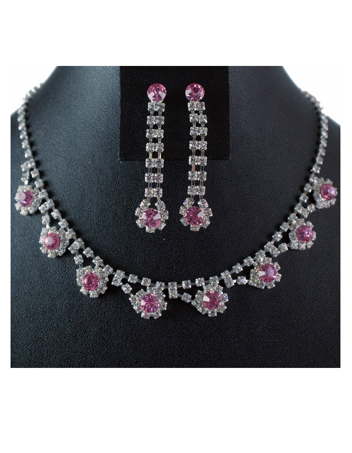 Rose Pink Diamante Necklace and Drop Earring Set