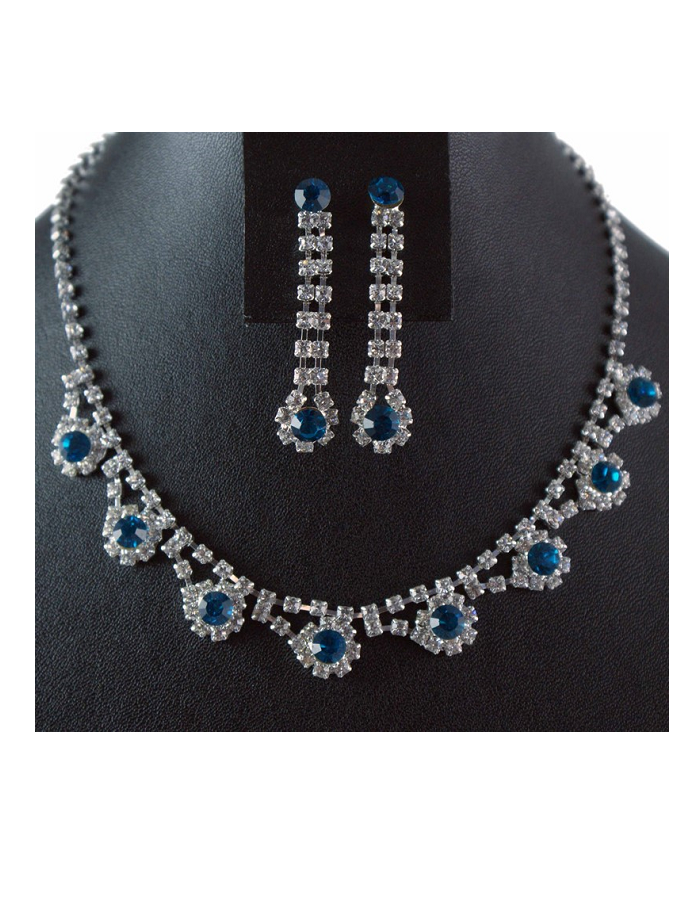 Turquoise Diamante Necklace and Drop Earring Set