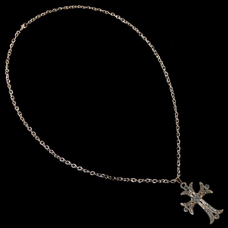 Rhodium/Clear Diamante Cross Pendant