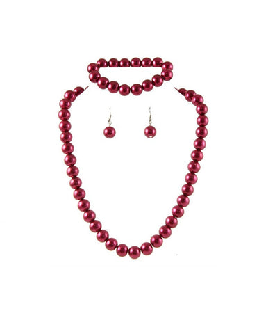 Ivory Imitation Pearl Diamante Necklace and Drop Earring Set