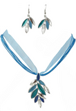 Blue Leaf Necklace and Pierced Earrings Set