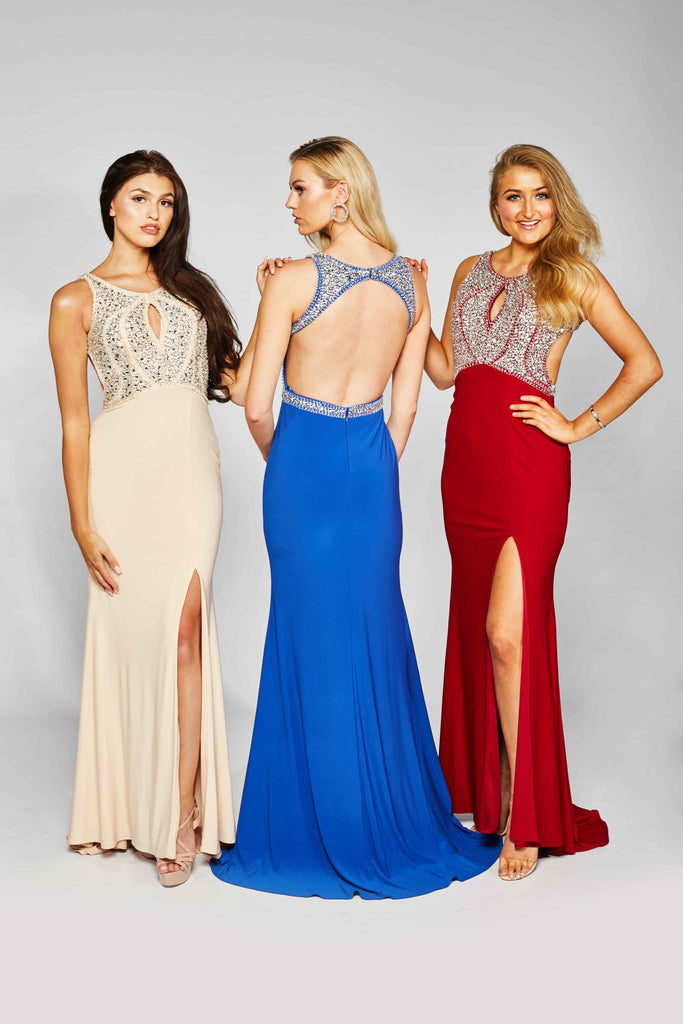 Alice - Long Beaded Prom Dress With Open Back