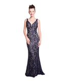 Angie - Figure Hugging Midnight Blue Lace Dress
