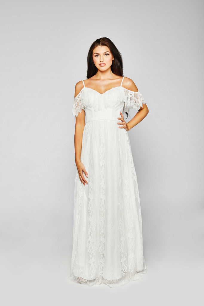 Avery - Romantic Boho Off-Shoulder Ivory Dress