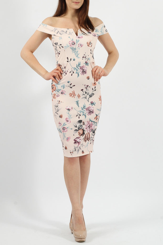 Nude Bardot V-Bar Floral Bodycon Midi Dress