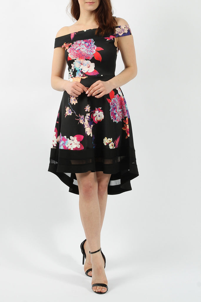 Black High Low Floral Print Bardot Skater Dress