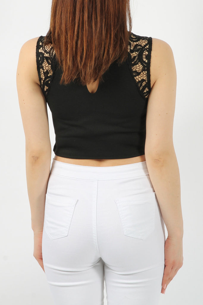 Black Padded Choker Sleeveless Lace Crop Top