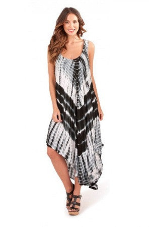 Black and White Tie Dye Beach Dress