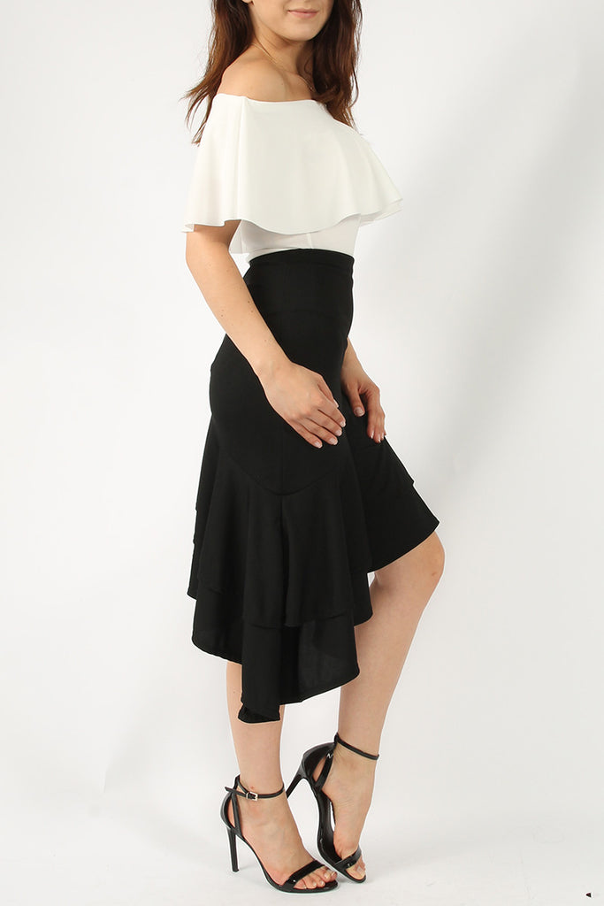 Ruffle Asymmetric Midi Skirt Black