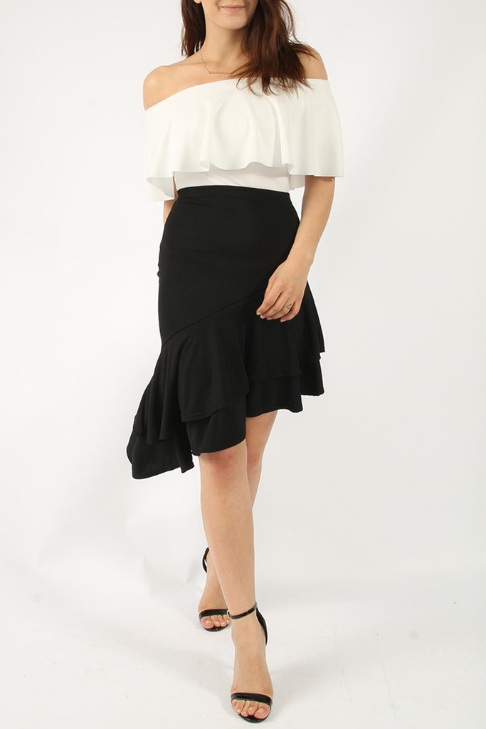 Black Ruffle Asymmetric Midi Skirt