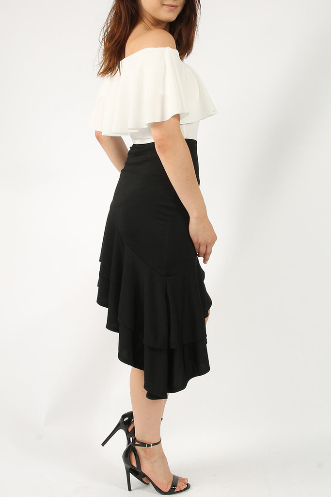 Ruffle Midi Skirt Black