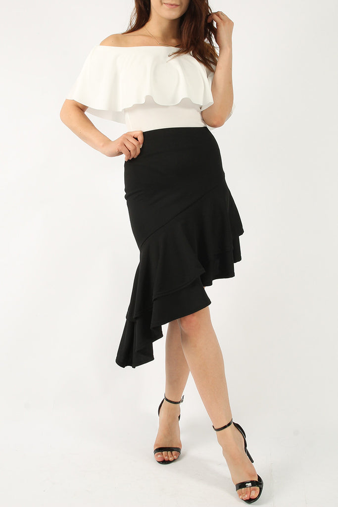 Ruffle Asymmetric Midi Skirt in Black