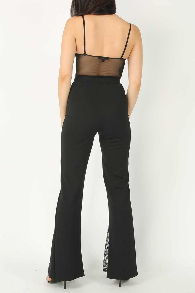 Black Wide Leg Trousers With Lace Insert