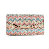 Pink Colourful Weave Metal Trims Evening Bag