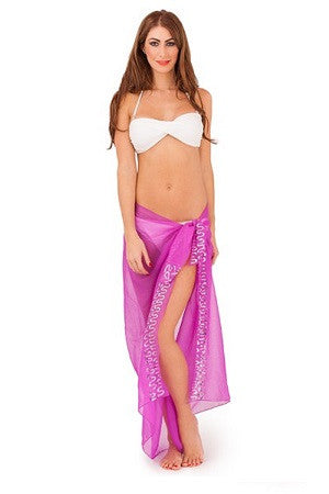 Chiffon Sarong With Purple Sequin Pattern