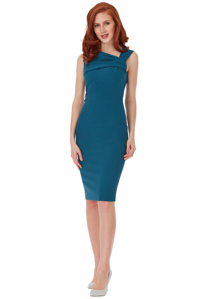 Teal Pleated Neckline Sleeveless Midi Dress