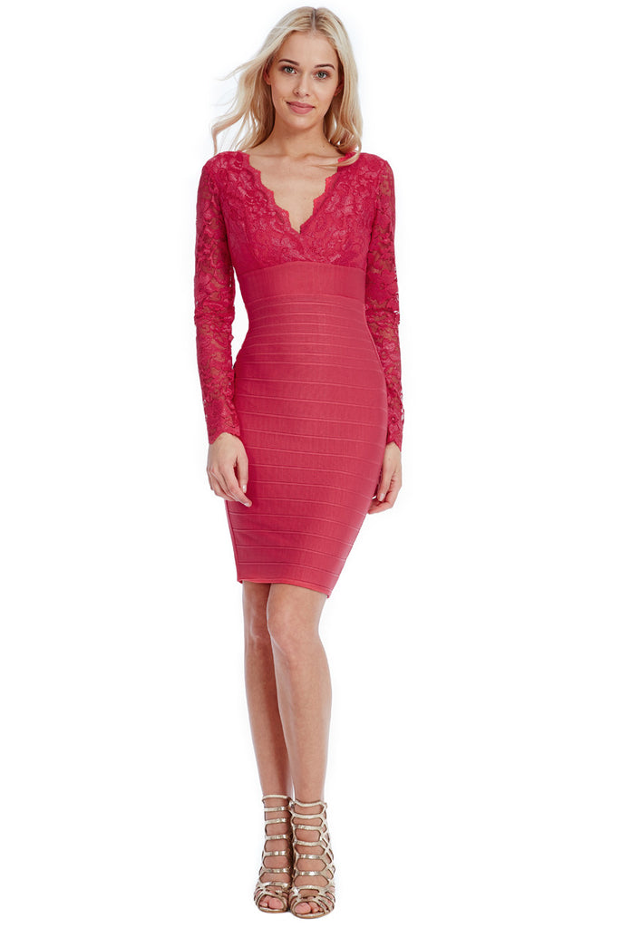 ... Coral V-Neck Lace Midi Dress ... d2921bb95