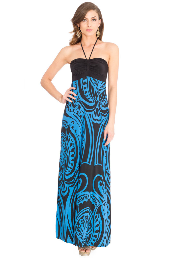Blue and Black Halter Neck Print Maxi Dress