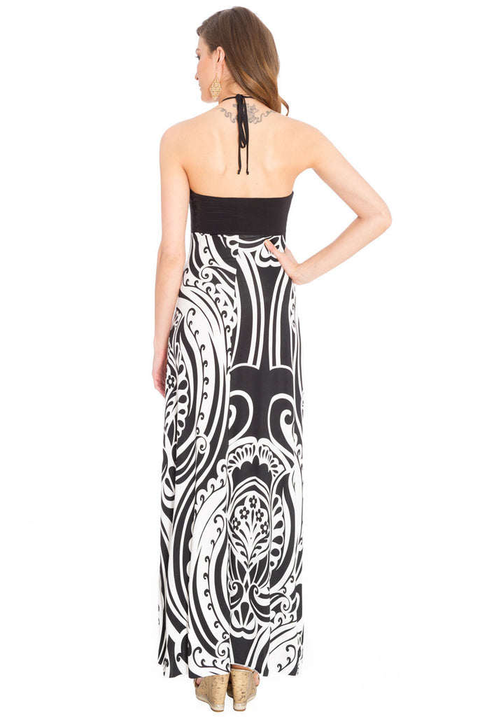 Black and White Halter Neck Print Maxi Dress