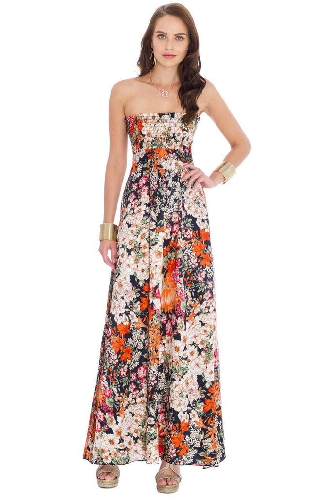 Strapless Flower Print Maxi Dress