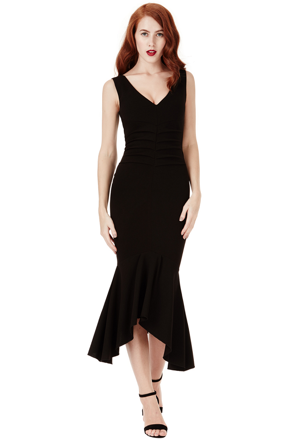 Black V Neck Pleated Peplum Midi Dress