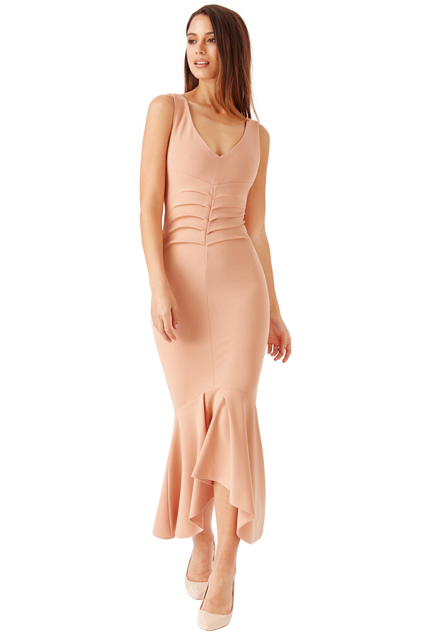Nude V Neck Pleated Peplum Midi Dress