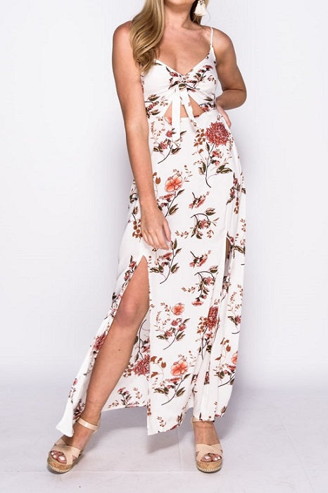 White Floral Print Tie Detail Maxi Dress