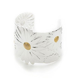 Designer Inspired 925 Sterling Silver Plated Flower 'Daisy' Adjustable Cuff