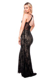 Debra - Long Black Lace Evening Dress