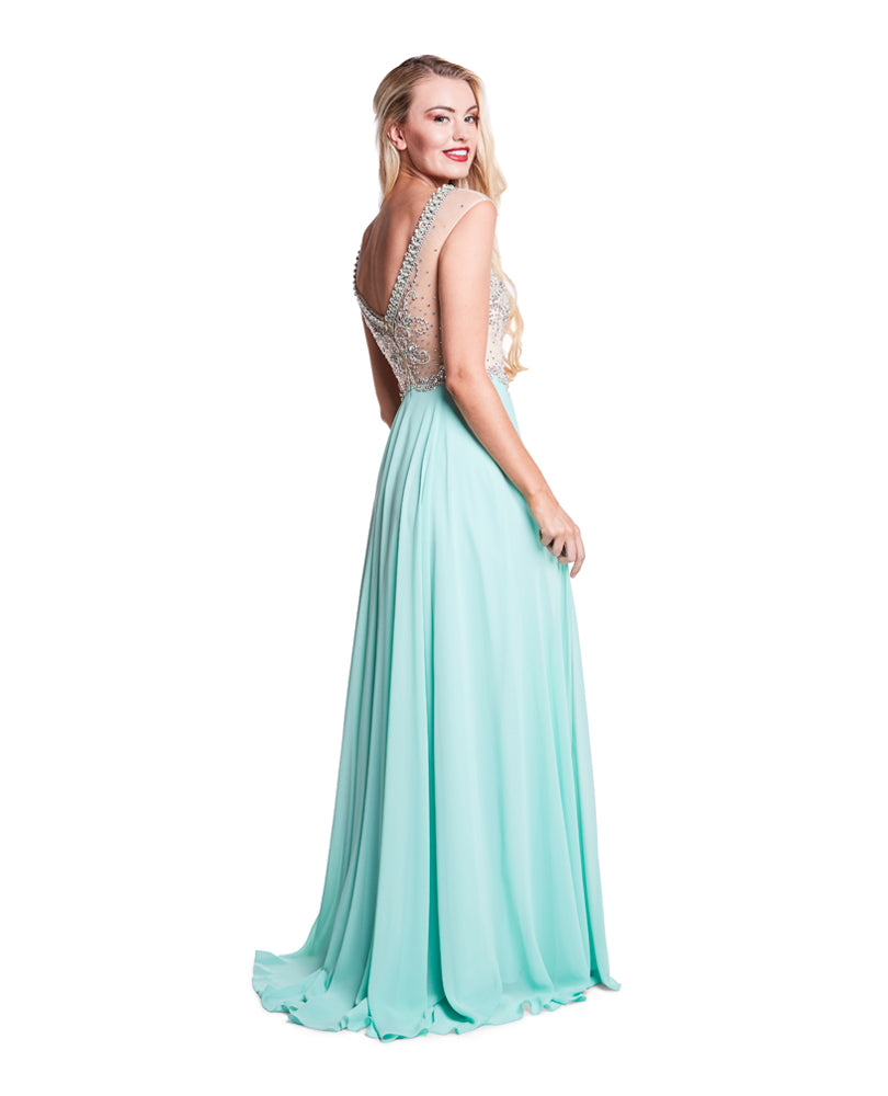Ellie - Beaded Bodice With Full Mint Chiffon Skirt