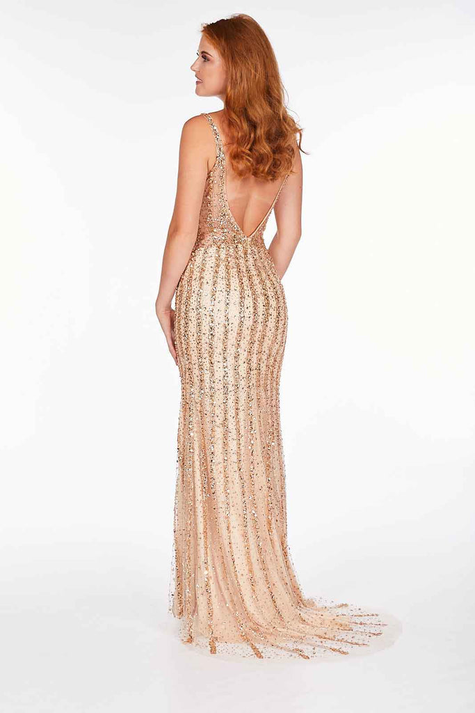 Eve - Champagne Gold Beaded Gown