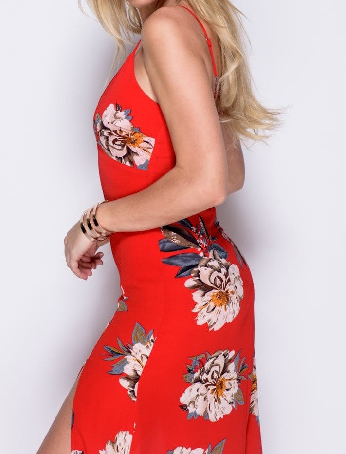 Close up Side View of Red Floral Print Thigh Split Maxi Dress