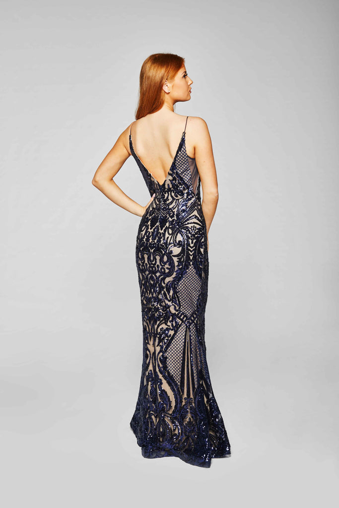 Grace - Midnight Blue Sequined Fishtail Dress