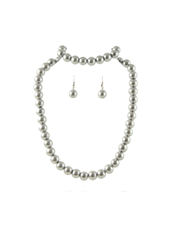 Grey Glass Pearl Necklace, Bracelet and Earrings Set