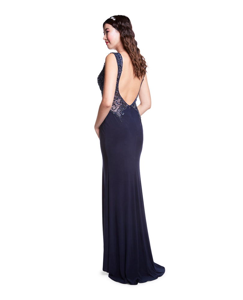 Hannah - Midnight Blue Jersey Dress With Leg Split