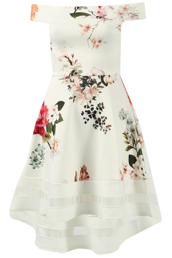 Ivory High Low Floral Print Bardot Skater Dress