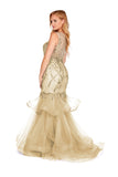 Ivy - Champagne Beaded Fishtail With Tiered Tulle Skirt