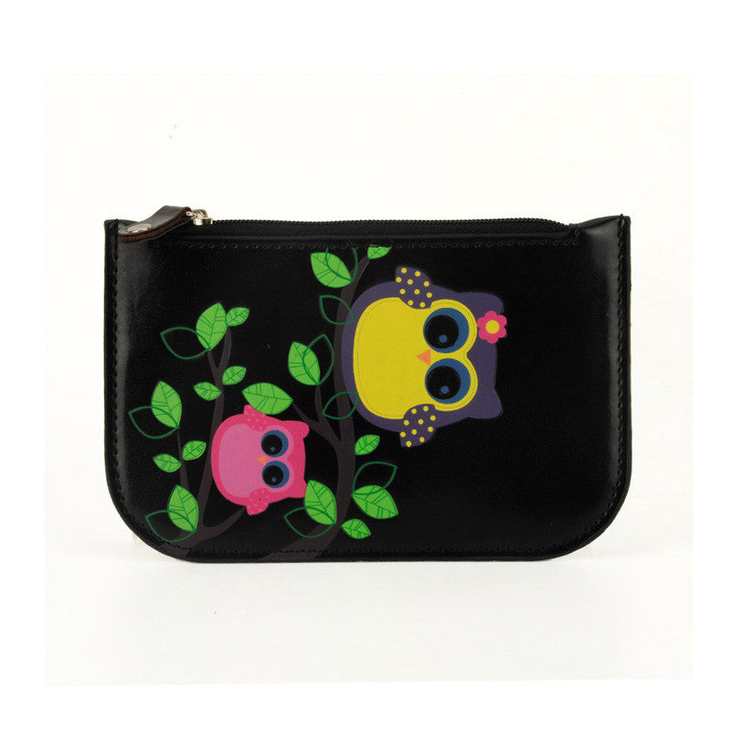 Black Cartoon Owl Short Style Coin Purse
