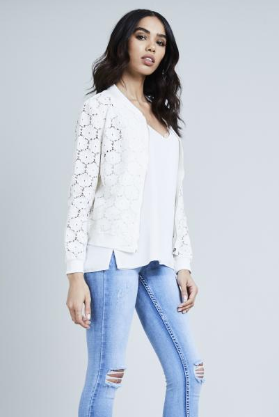 Ecru Floral Crochet Zip Jacket