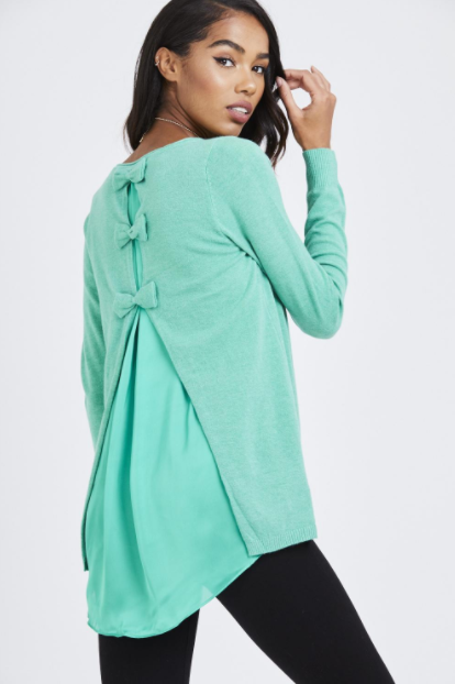 Mint Satin Bow Back Top