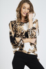 Black Vintage Print Cut Out Sleeve Top
