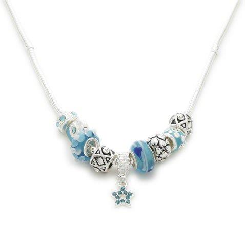 Liberty Charms Silver Plated 'Misty Blue' Charm Necklace